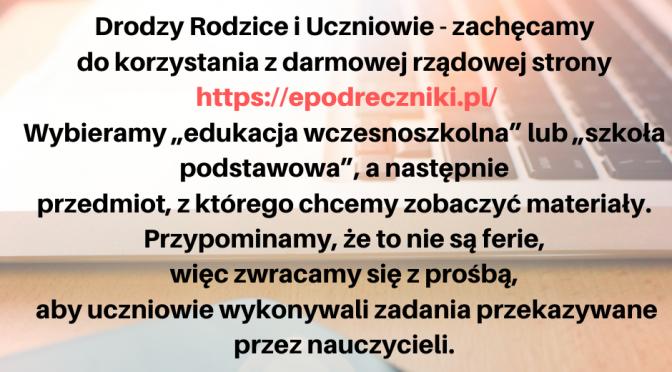 <font color=orange>E-podręczniki, e-materiały: </font>https://epodreczniki.pl/
