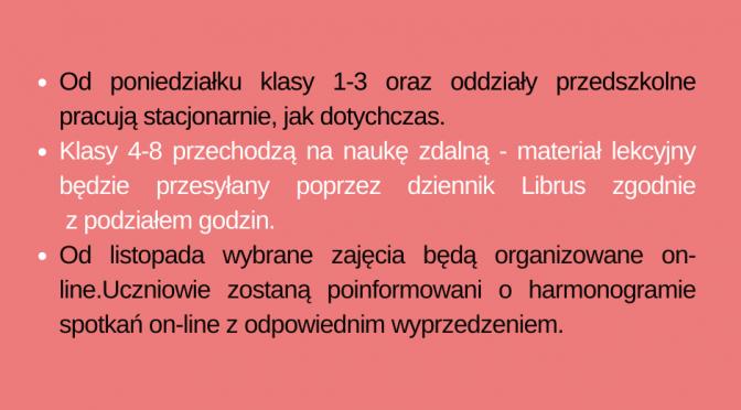 <font color=orange><b>Zawieszone zajęcia stacjonarne dla uczniów klas IV-VIII!</font></b>